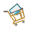 yellow shopping cart online computer sketch