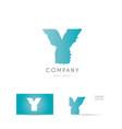 y blue letter alphabet logo icon design vector image