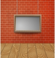Wooden frame on the brick wall background vector image