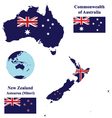 Australia and New Zealand Map Flag vector image
