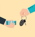 buying new car conceptual hand holding car key vector image