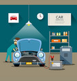 car mechanic workers in blue car service vector image