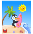 Happy penguin cartoon holding surfboard vector image vector image