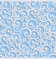 Blue 3d Floral Damask Seamless Pattern vector image