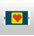 white smartphone love heart network digital vector image