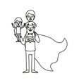 silhouette cartoon full body super dad hero with vector image