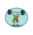 Weightlifter lifting heavy weights vector image