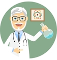 Elderly doctor doing chemical experiments vector image