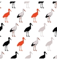 Black Rad Standing Cranes Seamless Pattern vector image
