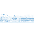 Outline Saint Petersburg skyline with landmarks vector image