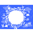cute frame with birds and bee vector image vector image