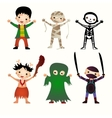 An of kids in halloween costumes vector image
