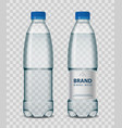 plastic bottle with mineral water with blue cap on vector image