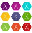 scissors icon set color hexahedron vector image