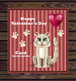 valentine day cute kitty card happy vector image