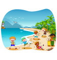 Children playing on the beach vector image