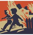 Children running away from fire flames vector image