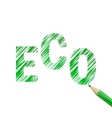 Eco text drawn with green pencil vector image