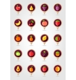 Fruits mapping pins icons vector image