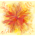 Grunge orange floral background vector image