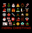 set of pixel art christmas icons vector image