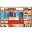 wardrobe room full of clothesflat vector image