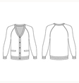 Blank long sleeve raglan cardigan outlined templat vector image vector image