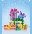 christmas and new year gifts vector image vector image