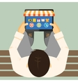 Man doing inline shopping vector image