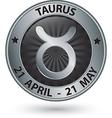 Taurus zodiac silver sign taurus symbol vector image