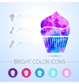 cupcake icon with infographic elements vector image