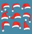 christmas santa claus red cartoon hats isolated vector image