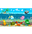 Funny scene under the sea vector image