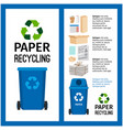 garbage blue container info with paper vector image