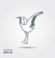 japanese crane bird icon vector image