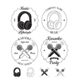 Set of music and karaoke logos labels badges vector image