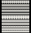 set of seamless lace borders ten white openwork vector image