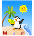 Summer background with penguin vector image