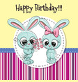 greeting card with two rabbits vector image