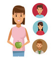 colorful poster half body woman with apple fruit vector image