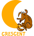 crescent shape with cartoon dog vector image