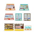 set of store shelf Supermarket shop vector image