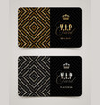 Vip golden and platinum card template vector image
