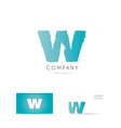w blue letter alphabet logo icon design vector image