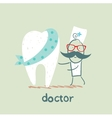 physician and patient tooth vector image vector image