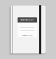 Realistic white copybook with elastic band bookmar vector image vector image