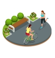 Biker in park woman running Cycling on bike path vector image