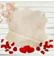 Roses petals on wooden background EPS 10 vector image