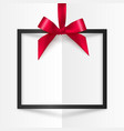 Black gift box frame with red silky bow and ribbon vector image