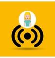 cartoon girl wireless wifi design vector image